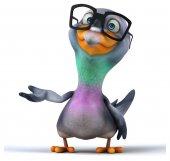 Fun cartoon pigeon — Stock Photo