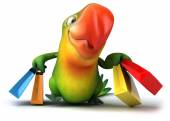 Fun parrot with shopping bags — Stock Photo