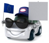 Fun car with flag of Europe — Stock Photo