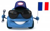 Fun car with flag of France — Stock Photo