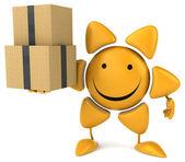 Fun sun with boxes — Stock Photo