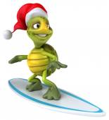 Fun turtle on surfing board in Santa's hat — Stock Photo