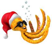 Fun octopus in Santa's hat — Stock Photo
