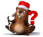 Fun beaver in Santa's hat — Stock Photo