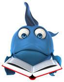 Fun Fish with book — Stock Photo