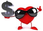 Fun heart with dollar sign — Stock Photo
