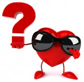 Fun heart with question mark — Stockfoto