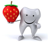 Cartoon tooth with strawberry — Stock Photo