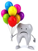 Cartoon tooth with balloons — Stock Photo