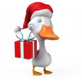Fun duck in Santa's hat — Stock Photo