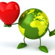 Green world with red heart — Stock Photo #59956459