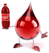 Blood drop with bottle of soda — Stock Photo