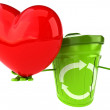 Green trash container with red heart — Stock Photo #60049197