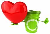 Green trash container with red heart — Stock Photo