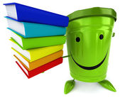 Green trash container with books — Stock Photo