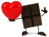 Chocolate bar with red heart — Stock Photo
