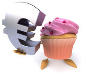 Cartoon Cupcake with euro sign — Stok fotoğraf