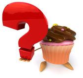 Cartoon Cupcake with question mark — Stock Photo