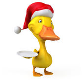 Fun duck in Santa's hat with plate — Stock Photo