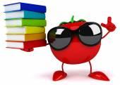 Fun tomato with books — Stockfoto