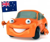 Fun car with flag of Australia — Stok fotoğraf