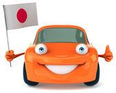 Coche con la bandera de japón — Foto de Stock