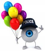 Fun eye  with balloons  and police cap — Stock Photo