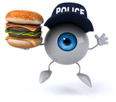 Fun eye with burger — Stock Photo