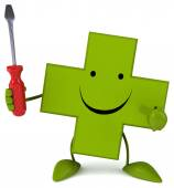 Cartoon pharmacy cross with screwdriver — Stock Photo