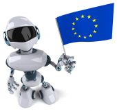Robot with flag of European union — Stock Photo
