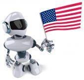 Robot with flag of USA — Stock Photo