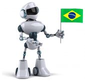 Robot with flag of Brazil — Stock Photo