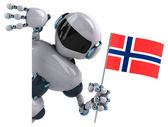 Robot with flag of Norway — Stock Photo