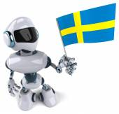 Robot with flag of Sweden — Stock Photo