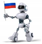 Robot with flag of Russia — Stock Photo