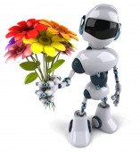 Robô com flores — Fotografia Stock