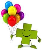 Green Pharmacy cross with balloons — Foto Stock