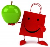 Shopping bag with an apple — Stockfoto