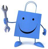 Fun cartoon shopping bag — Stock Photo