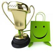 Zabawne torba na zakupy z trofeum — Zdjęcie stockowe