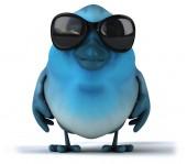 Fun blue bird in sunglasses — Foto Stock