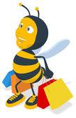 Забавная пчела с хозяйственными сумками — Стоковое фото