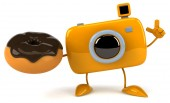 Fun camera with donut — Foto de Stock