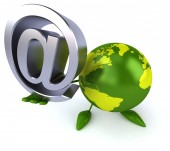 Green world with email symbol — Stock Photo