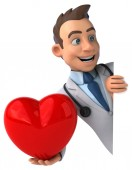 Fun doctor with red heart — Stockfoto