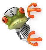 Fun frog sailor — Stockfoto