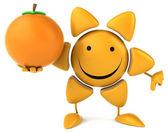 Bir portakal ile eğlenceli güneş — Stok fotoğraf