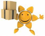 забавное солнце с коробками — Стоковое фото