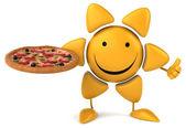 Fun sun with pizza — Stock fotografie