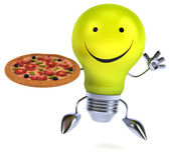 Fun light bulb with pizza — Stock Photo